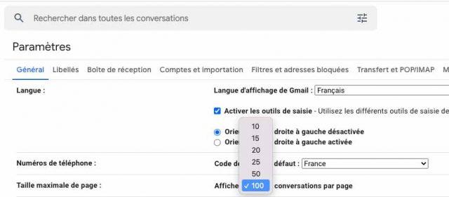 Gmail permet de changer le nombre de conversations affichées sur chaque page