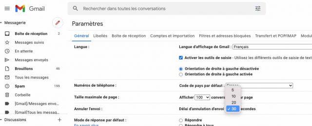 L'option permettant de modifier le délai d'annulation d'envoi d'un message