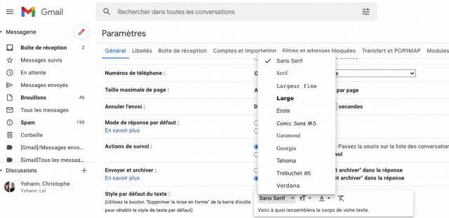 Gmail vous permet de choisir votre style d'écriture par défaut