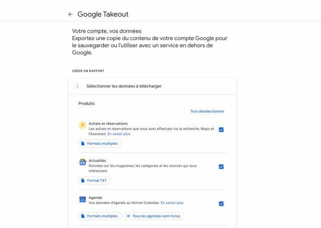 Une capture écran de Google Takeout