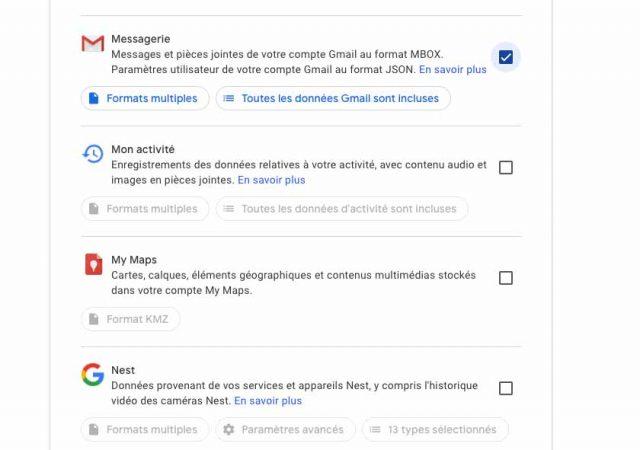 L'option permettant de sélectionner Gmail