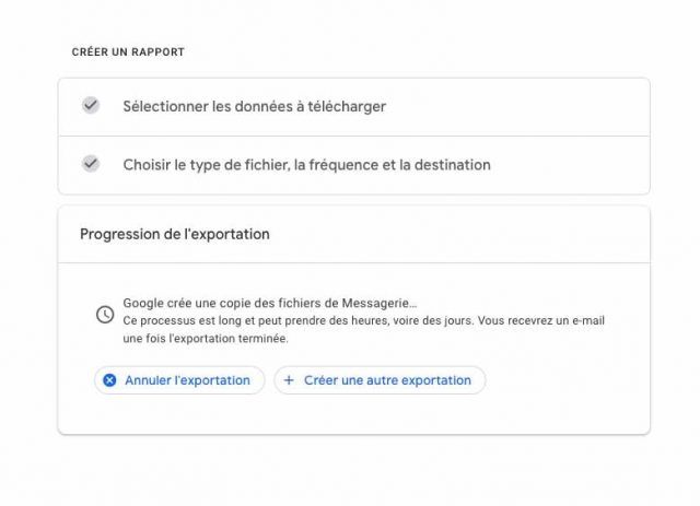 Une capture de l'opération d'export des données de Gmail