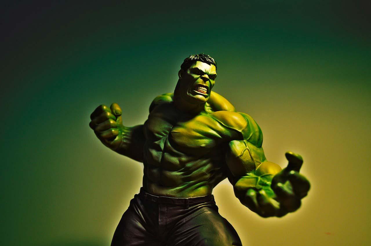 Une figurine de Hulk, un personnage de l'écurie Marvel