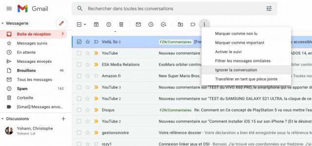 La procédure pour ignorer une conversation sur Gmail