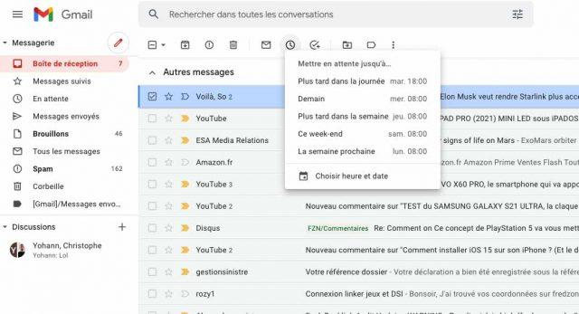 L'option permettant de mettre en attente un courriel reçu sur Gmail