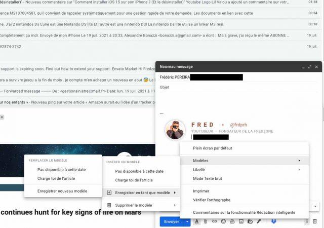 Les modèles dans Gmail