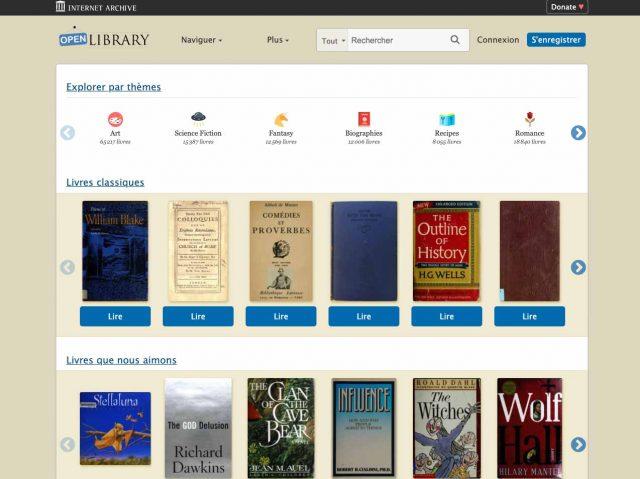 La page d'accueil d'Open Library