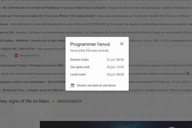 La fonction de programmation d'envoi de Gmail