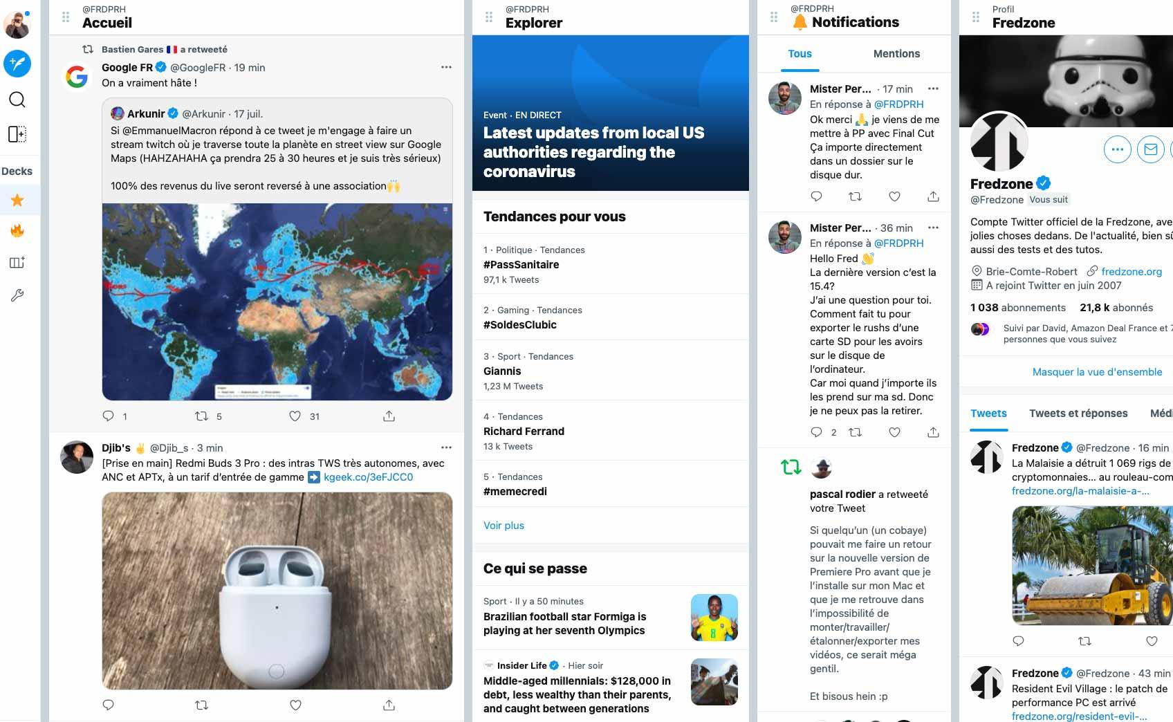 Une capture de la nouvelle version de Tweetdeck, sortie en 2021