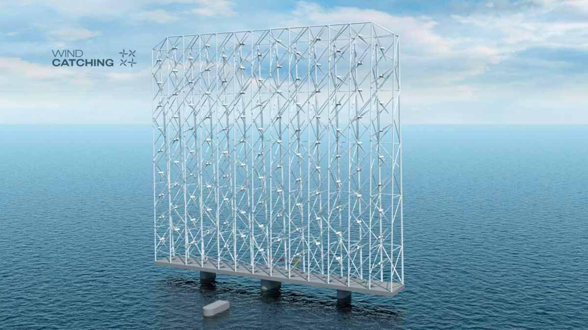 Un mur d'éoliennes en plein océan