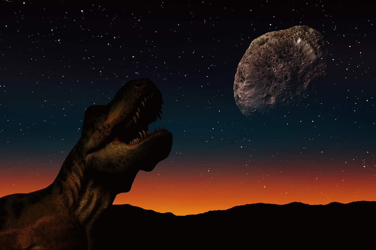 Un astéroïde approchant d'un dinosaure