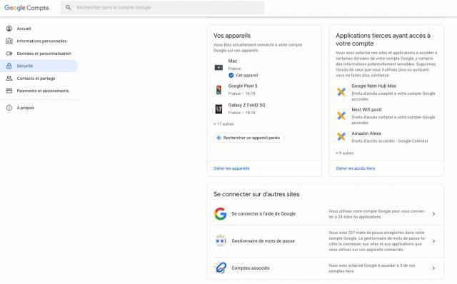 Le tableau de bord de votre compte Google