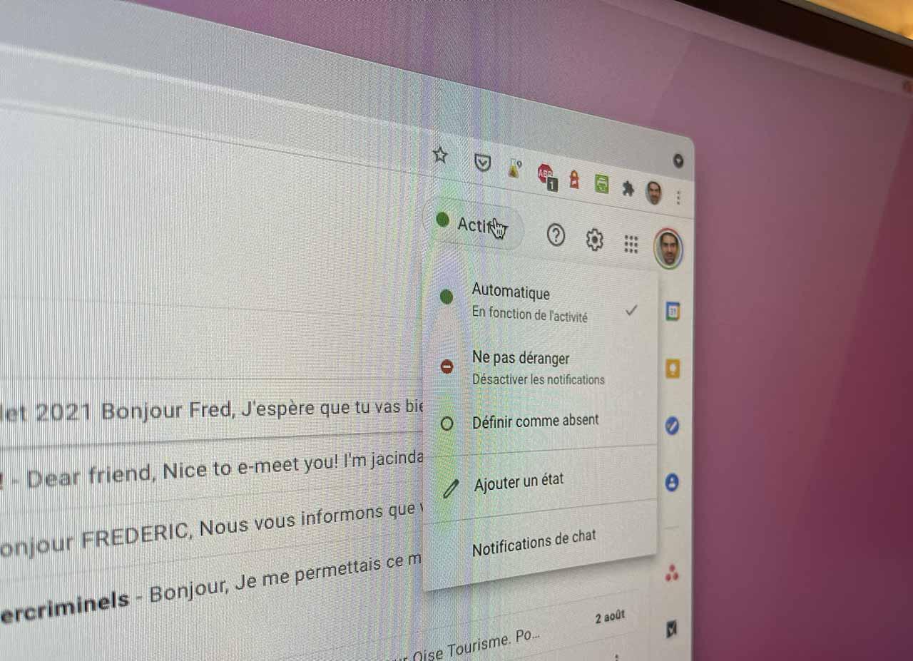 La fonction de statut de Gmail