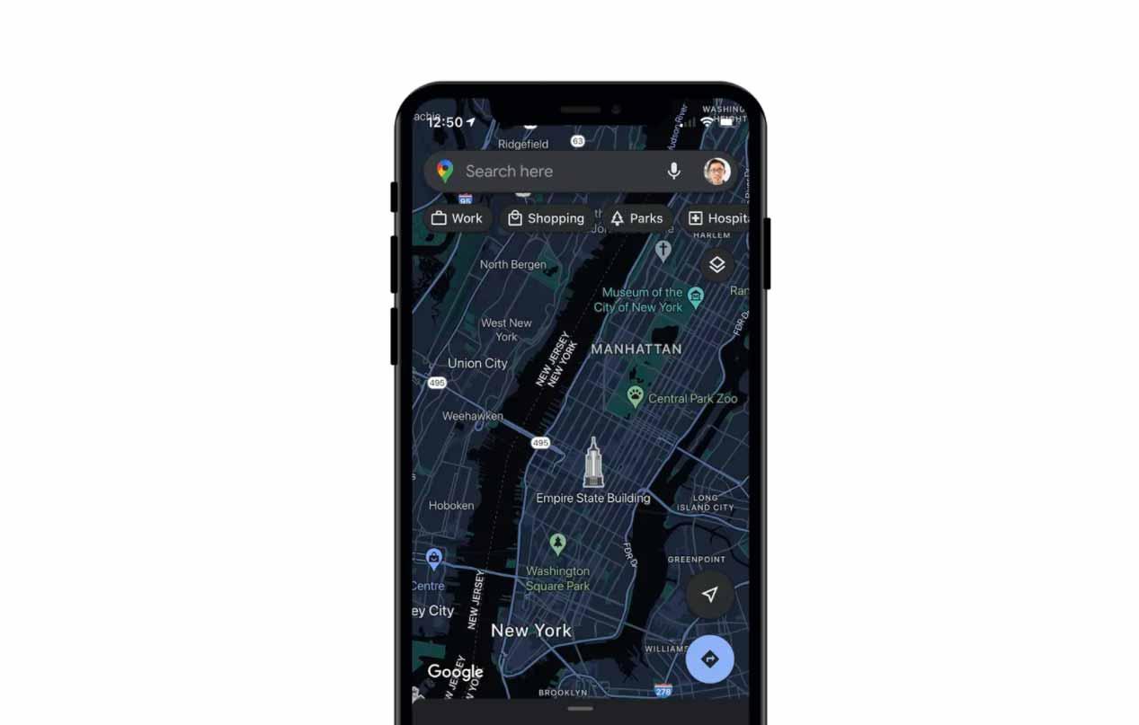 Le mode sombre sur Google Maps iOS