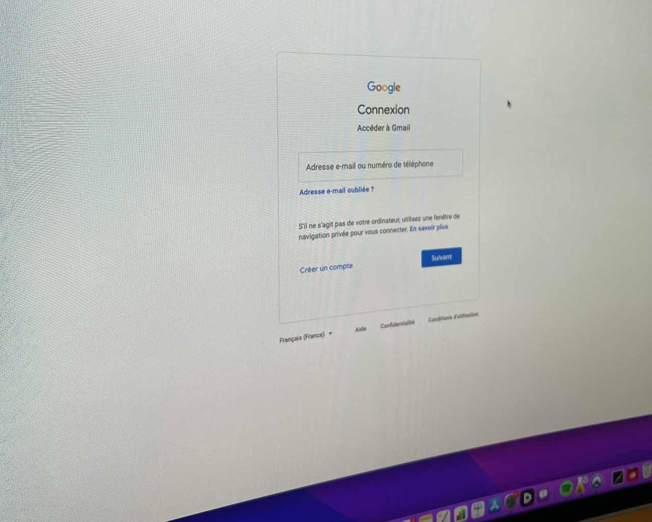 L'écran permettant de réinitialiser le mot de passe Gmail