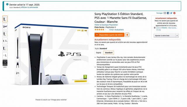 Une capture de la fiche produit de la PS5