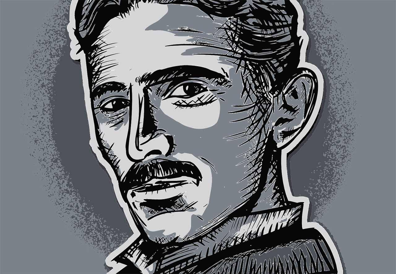 Une illustration représentant Nikola Tesla