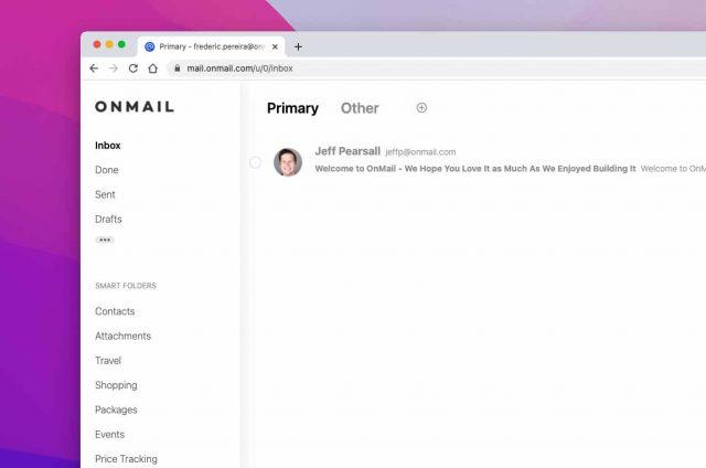L'interface d'OnMail est très épurée