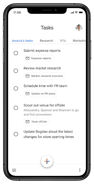 Une capture de la nouvelle interface de Google Tasks