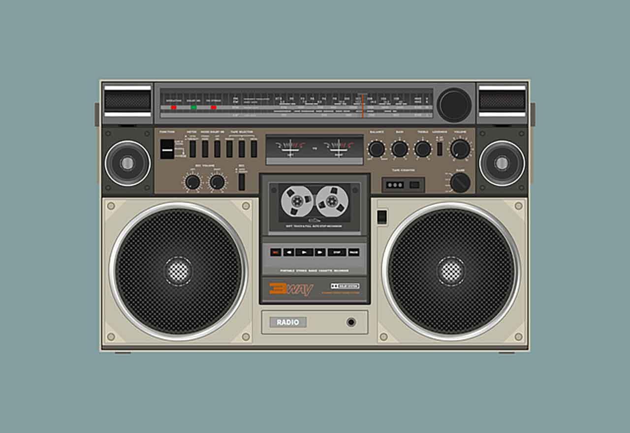 Une illustration représentant une radio cassette