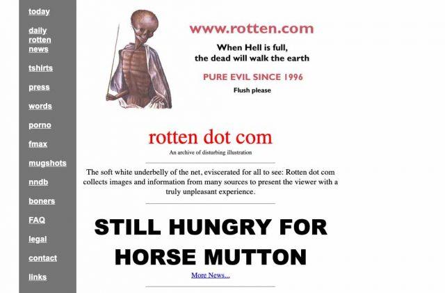La page d'accueil de Rotten et sa célèbre accroche