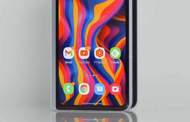Le bas de l'écran du Galaxy Z Fold 3