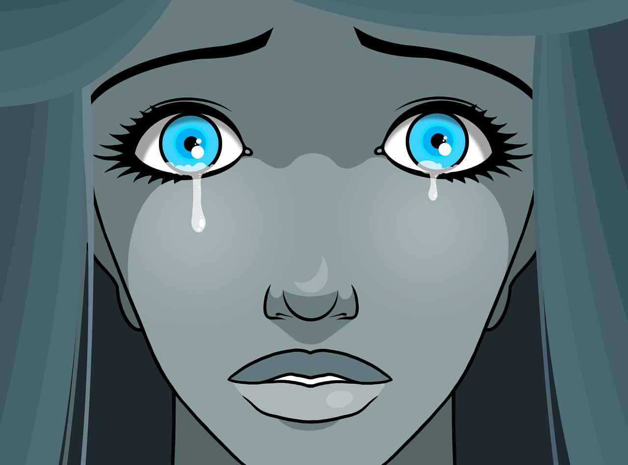 Un dessin d'une femme en train de pleurer