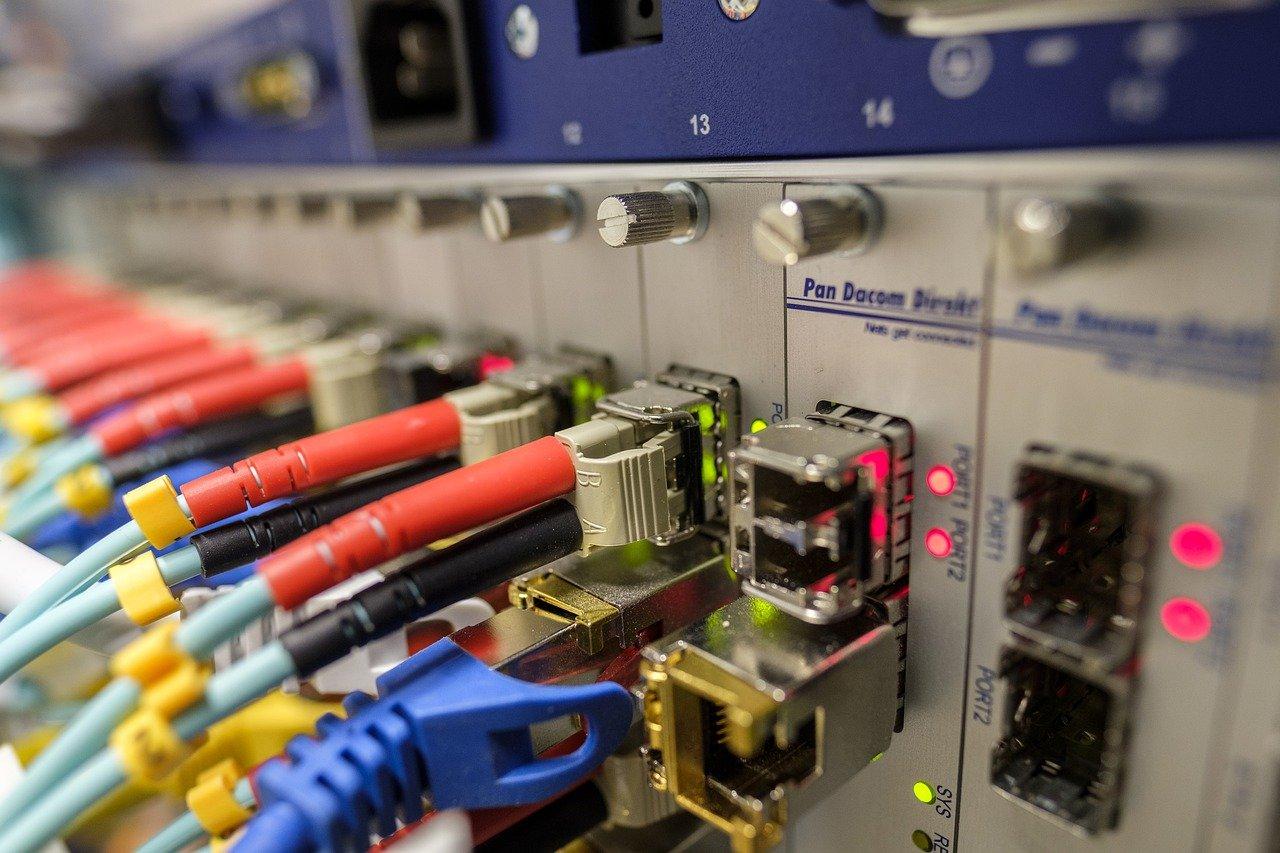 Des câbles Ethernet branchés sur un switch