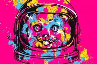 Un chat en tenue d'astronaute