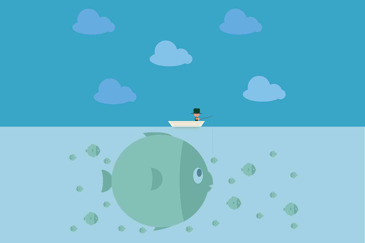 Une illustration montrant un homme en train de pêcher