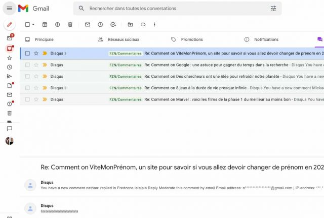 En réduisant le menu de Gmail, vous gagnerez pas mal de place en largeur