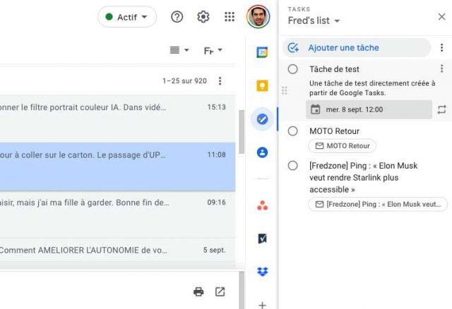 Des tâches créées sur Gmail