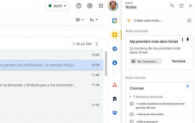 On peut épingler une note à partir de Google Keep pour Gmail