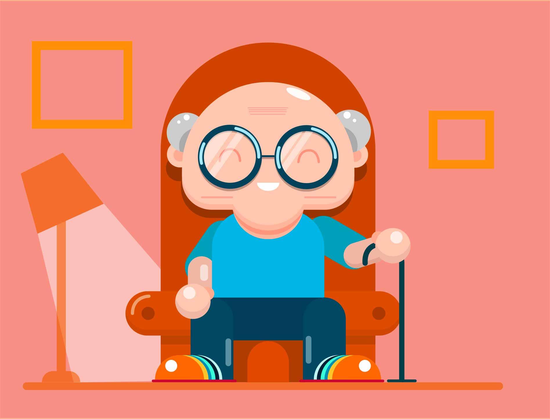 Une illustration montrant un homme âgé