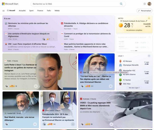 La page d'accueil de Microsoft Start