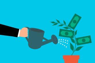 Une illustration montrant une personne en train d'arroser une plante avec des billets verts