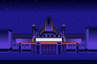 Une illustration représentant une salle de cinéma