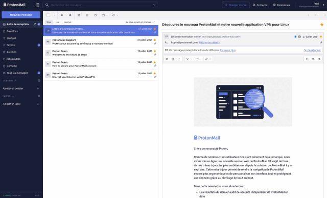 ProtonMail en version web