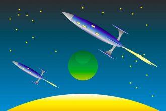 Une fusée décollant dans le ciel