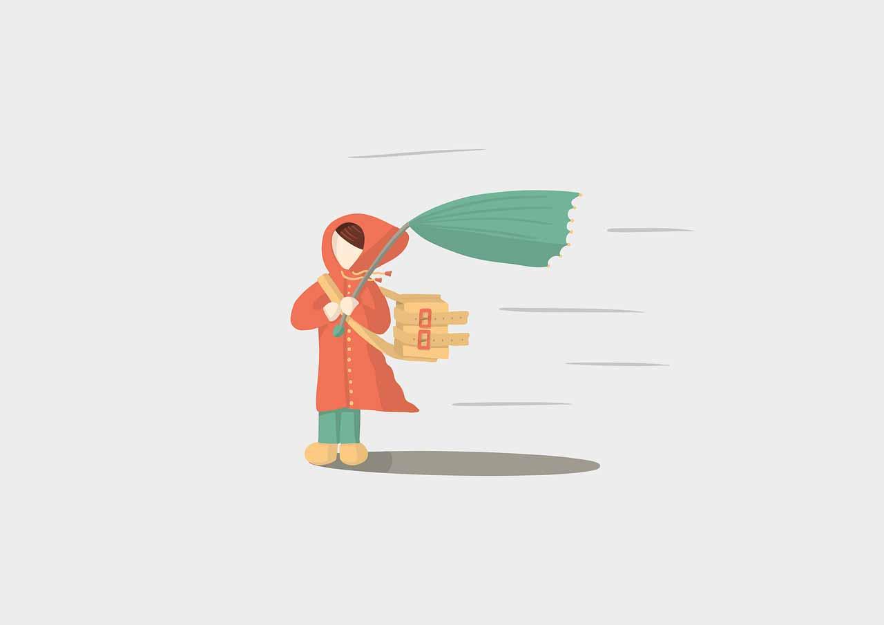 Une illustration montrant une femme faisant face à des vents puissants