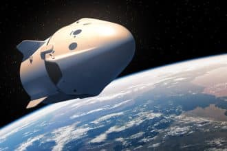 Vaisseau spatial commercial dans l'espace. Illustration 3D.
