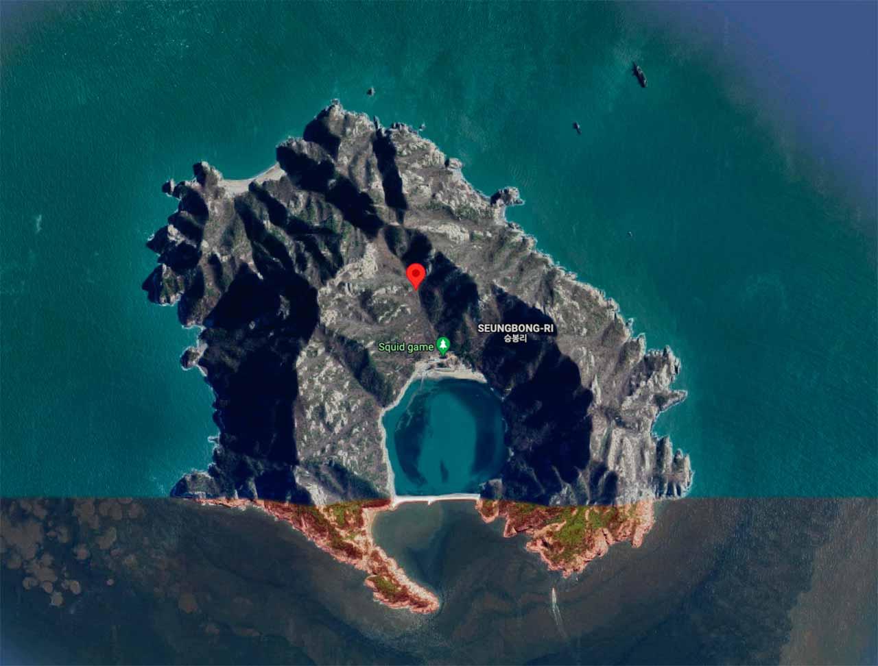 L'île de The Squid Game dans Google Maps